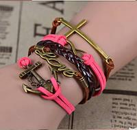 Многослойный плетеный браслет черно розовый якорь любовь крестик