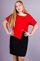 Майа. Модное женское платье супер сайз. Красный.
