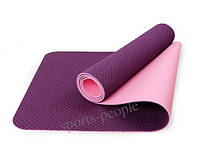 Коврик для йоги/фитнеса: 6 мм, технология TPE, разн. цвета., фото 1