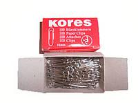 """Скрепки канцелякие """"Kores"""" 33 мм, никель, 100 шт, 11984_33"""