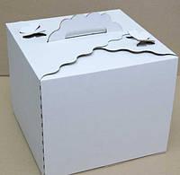 Коробка картонная для торта 30 см х 30 см х 25 см, Белая