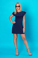 Летнее синее короткое платье с аккуратной рюшей