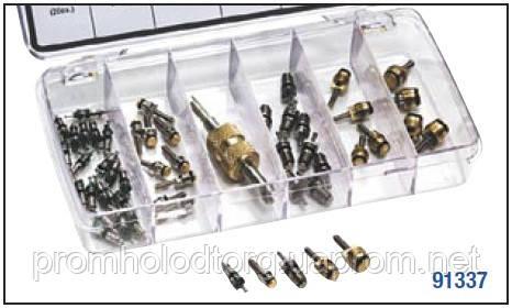 Набор автокондиционерных ниппелей R12/R134a: 5видов - 50шт. + универсал. ниппельный ключ MC - 91337
