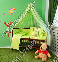 """Детское постельное белье в кроватку """"Бим Бом"""" комплект 7 ед. (мишка в круге салатовый), фото 3"""