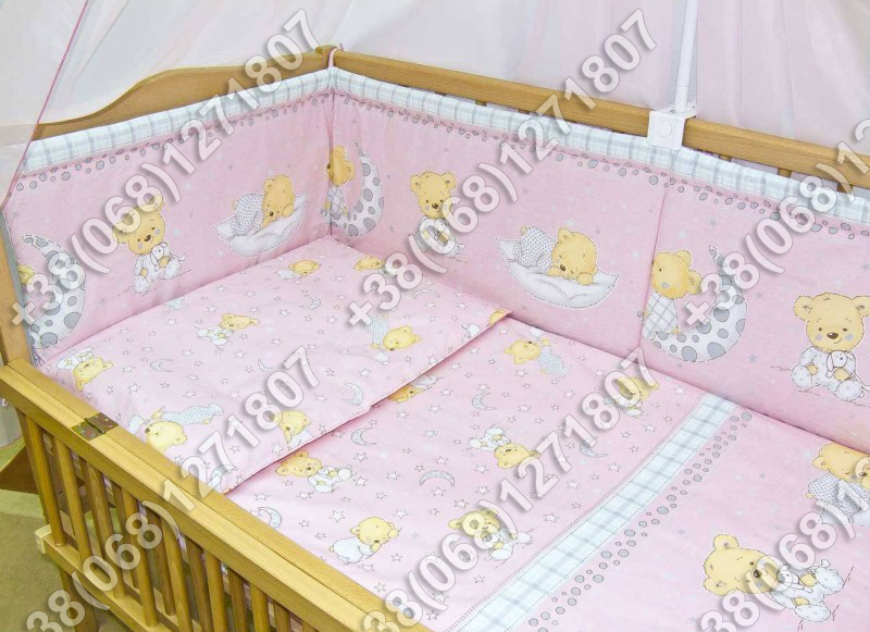 Детское постельное белье и защита (бортик) в детскую кроватку (мишка на месяце розовый)