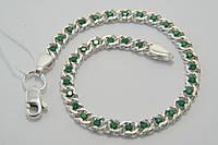 Браслет женский из серебра 925 с зелеными камнями