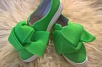 Женские слипоны с сеткой 5цветов зеленые, 39