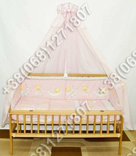 """Детское постельное белье в кроватку """"Бим Бом"""" комплект 5 ед. (мишка на месяце розовый)"""