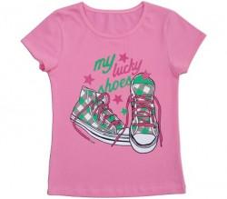 """Футболка розовая для девочки """"Кеды"""" , рост 128"""