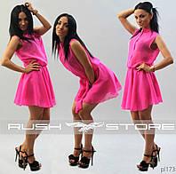 Стильное летнее платье-рубашка из шифона
