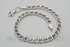 Серебряный женский браслет с фианитами цвета лаванда