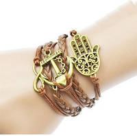 Многослойный коричневый плетеный браслет якорь рука