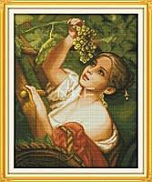 """Набор для вышивки крестом 14ст """"Девушка с виноградом"""""""