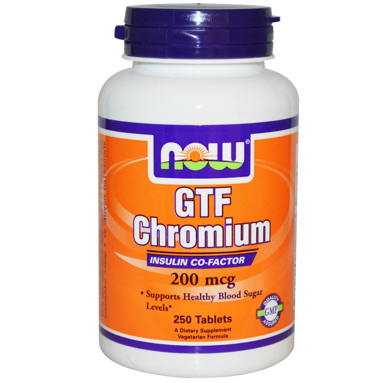 Хром GTF , Now Foods, 200 мкг, 250 таблеток