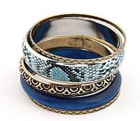 Многослойный браслет для женщин ретро синий змеиная кожа дерево