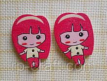 Ґудзик дерев'яна декоративна. Дівчина з рожевими волоссям.