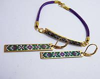 Этно мотив, набор серьги и браслет