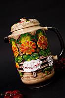 Высокий керамический чайник, цветная лепка