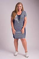 Комбинированное платье больших размеров с принтом, короткий рукав.  Арт-5428/55