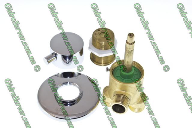 Кран переключатель J - 7042 для гидромассажной ванны, джакузи врезной на борт ванны вид изделия в разобранном варианте.