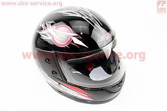 Шлем закрытый 825-1 S- ЧЕРНЫЙ с серо красным рисунком