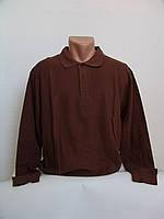 Коричневая мужская футболка поло с длинным рукавом