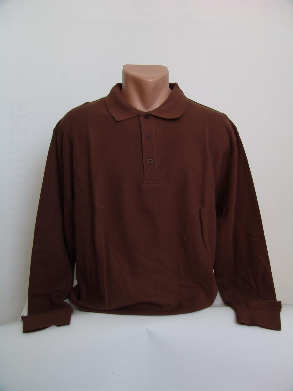 """Коричневая мужская футболка поло с длинным рукавом  - Магазин семейных покупок """"Смайл"""" в Хмельницком"""