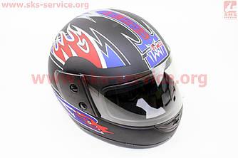 Шлем закрытый 825-1 S- ЧЕРНЫЙ с сине красным рисунком