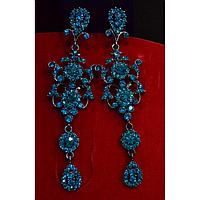 Серьги длинные, голубые камни,  английская застежка 001432