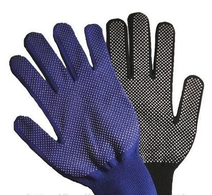 Перчатки нейлоновые тонкие с пвх-микроточкой, садовые черные 1 пара.