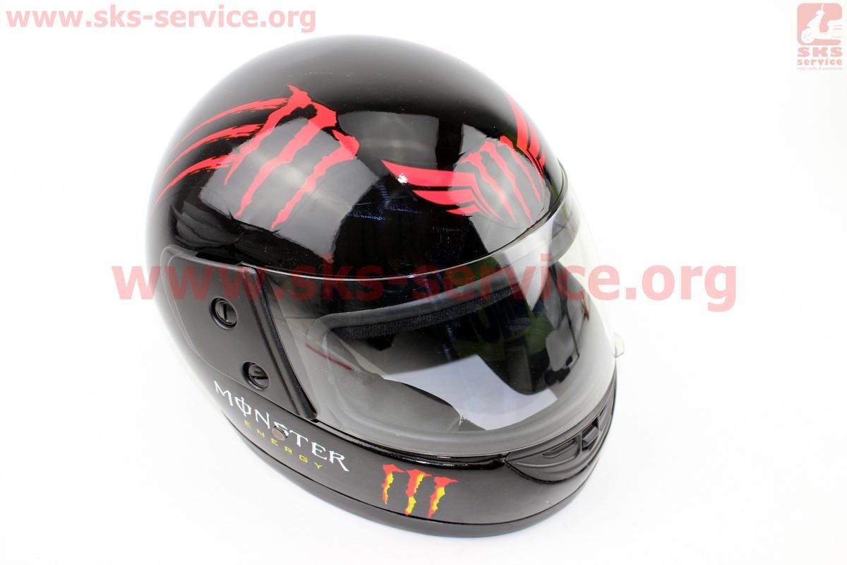 Шлем закрытый 825-3 XS- ЧЕРНЫЙ глянец, красный рисунок MONSTER