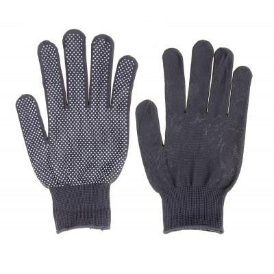 Перчатки нейлоновые тонкие с пвх-микроточкой, стрейч, серые 1 пара.