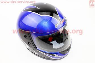 Шлем закрытый 825-2 S- СИНИЙ с рисунком черным
