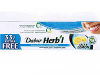 Зубная паста натуральная без фтора Соль Лимон отбеливающая Salt Lemon Dabur 80г