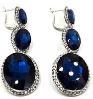 Серьги классические вечерние с камнями Сваровски S-063  камни синего цвета
