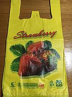 Пакет майка 55, Клубника, полиэтиленовая с рисунком, логотипом 29*55  55 кг (Клубника, Цветы)