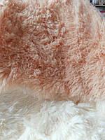 Покрывало двуспальное меховое с длинным ворсом персиковое темное