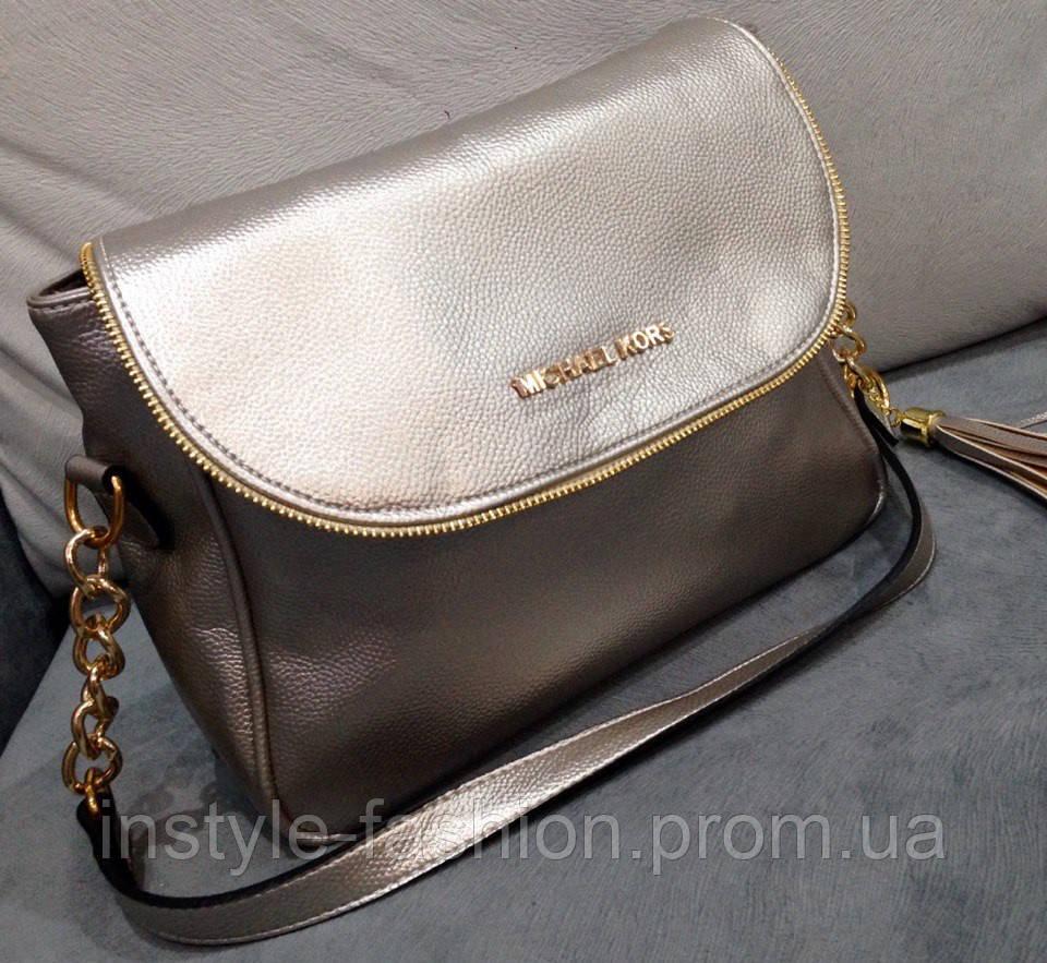 Женский клатч сумка через плечо Michael Kors серебро