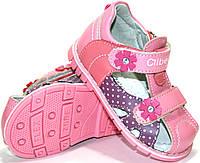 Детские кожаные босоножки для девочек c закрытым носком Clibee Польша размеры 20-25