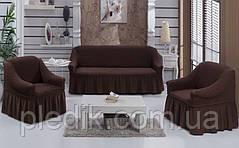 Набір чохлів Arya Burumcuk: 1 диван + 2 крісла, коричневий