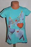 Футболка  на девочку Турция 140,158 р  бирюзовая., фото 6