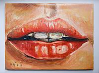 """Картина маслом - """"Алые губы"""""""