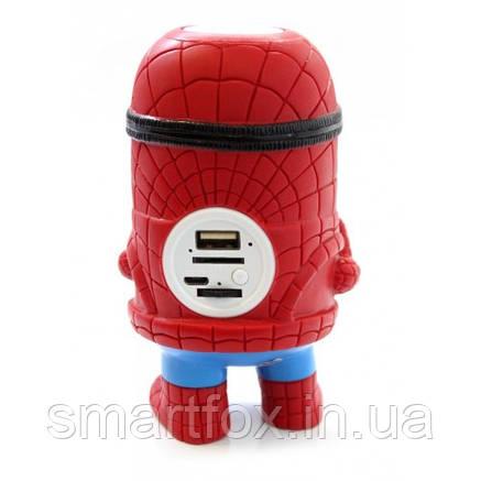 Портативная колонка c Блютус Миньон FQ-1010 Человек паук, фото 2