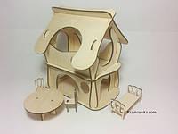 Двухэтажный домик для феи, кукол, PetShop, зверюшек(под раскраску)