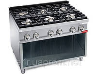 Газовая плита для готовки на медленном огне 6 колонки (41,5 кВт) на открытой базе