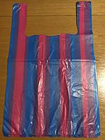 Пакет майка полиэтиленовая с рисунком, (логотипом) серия полоса,  №1, 30*50