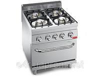 Газовая плита с 4 колонками для готовки на медленном огне (19 кВт) + газовая духовка (3,5 кВт)
