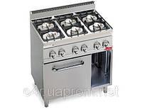 Газовая плита с 6 колонками для готовки на медленном огне (28,5 кВт) + электр. конвекц. духовка (3 кВт)