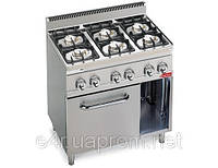 Газовая плита с 6 колонками для готовки на медленном огне (28,5 кВт) + электр. конвекц. духовка (3,5 кВт)
