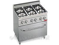 Газовая плита с 6 колонками для готовки на медл. огне (28,5 кВт) + газ. духовка (6 кВт) с теплоиз.